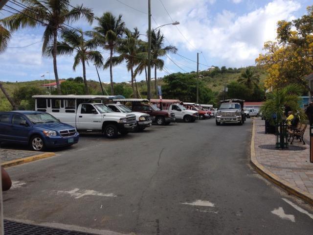 Safari cabs waiting just outside Cruz Bay terminal