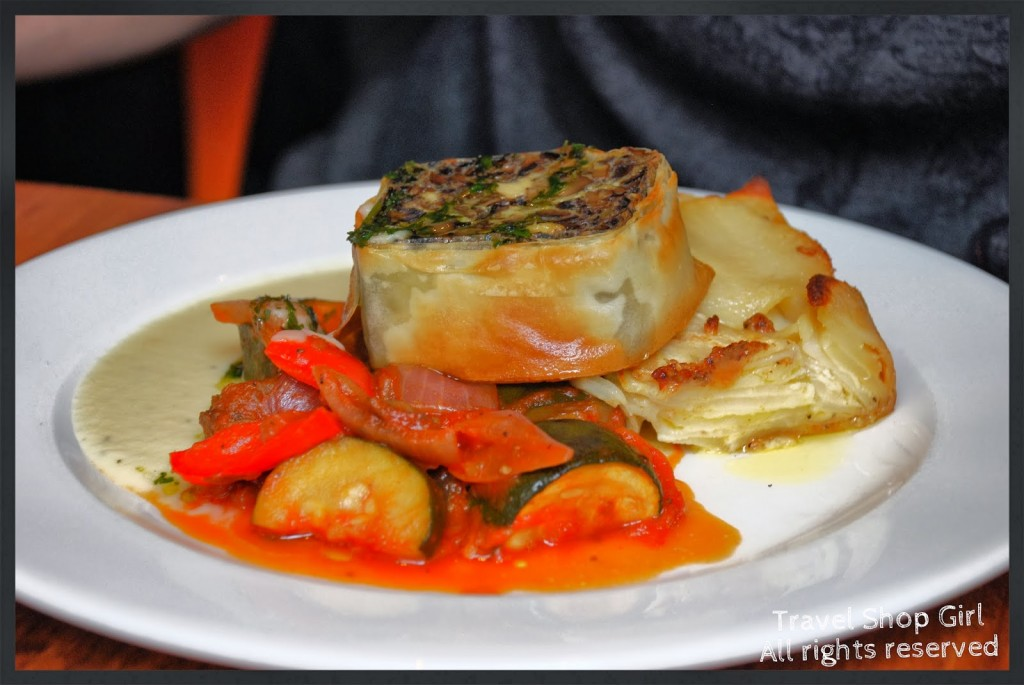 Mushroom Strudel with celeriac sauce and dauphinoise
