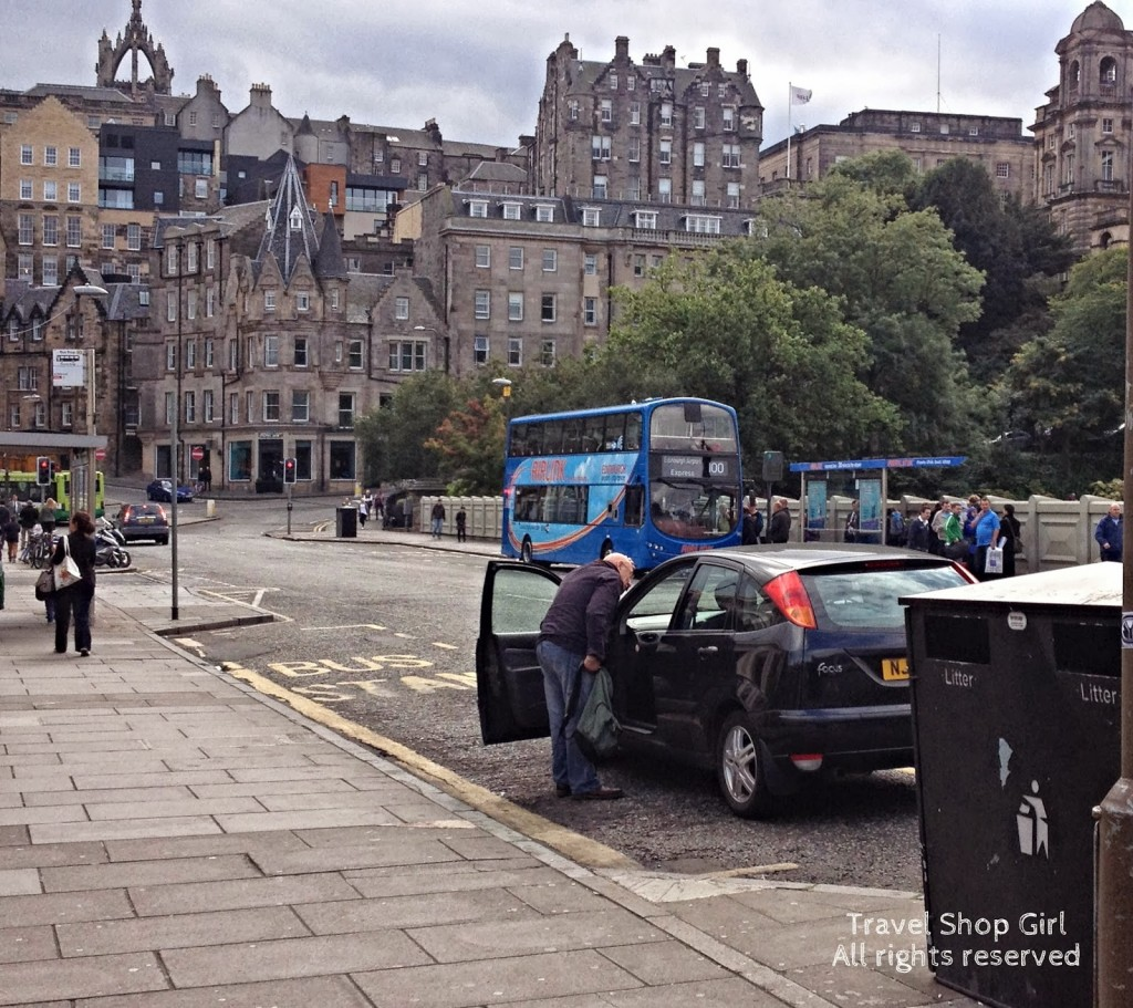Airlink bus waiting outside Waverley to return to Edinburgh airport