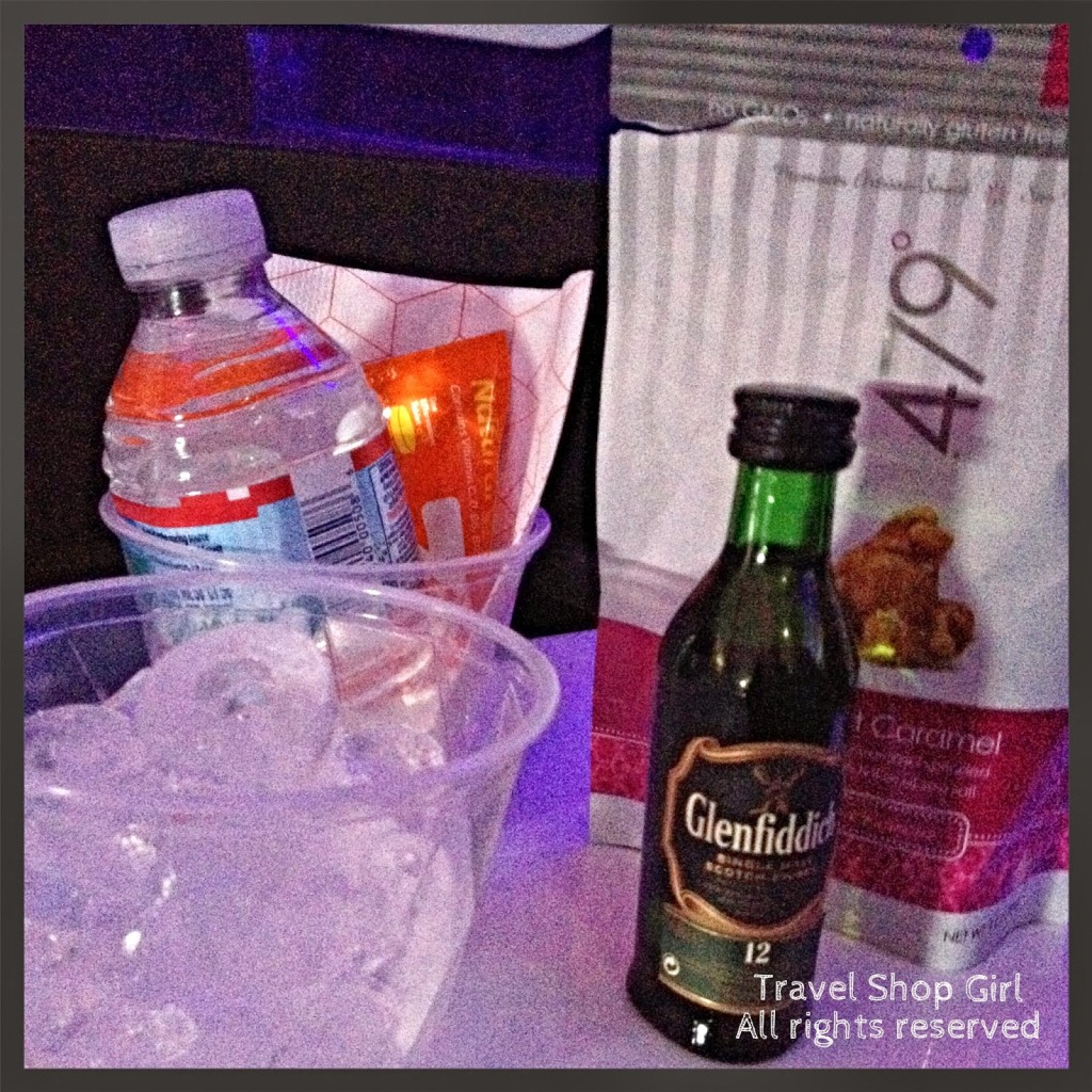 Snack one for the hubby: Glenfiddich and popcorn