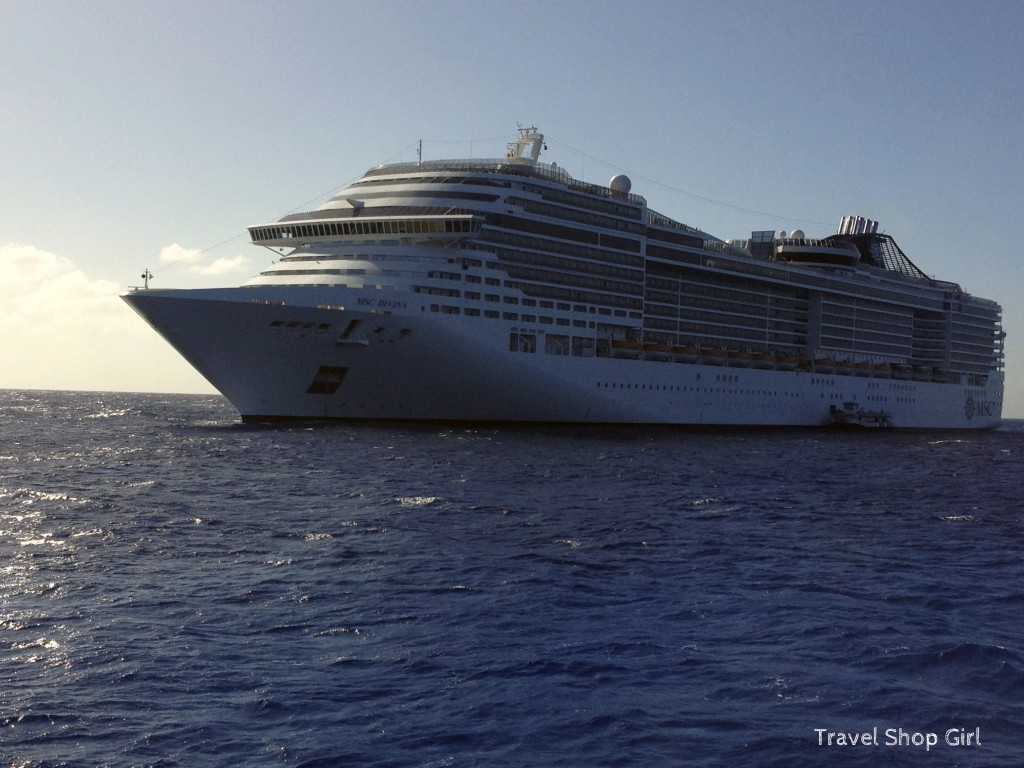MSC Divina off of Little San Salvador Island