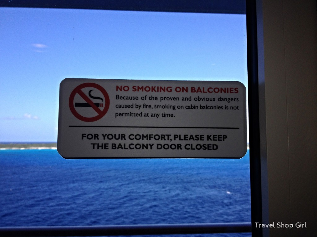 Sign on balcony door