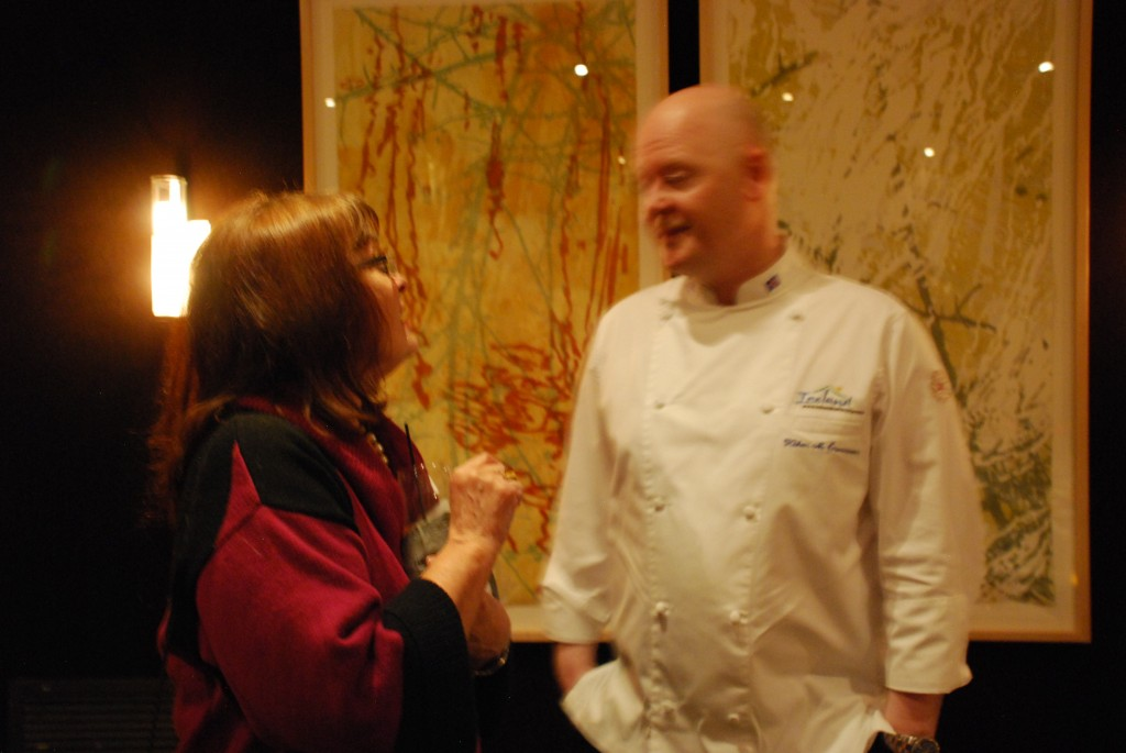 Chef Hákon Már Örvarsson talking with Karen Grete of Scandinavian Today