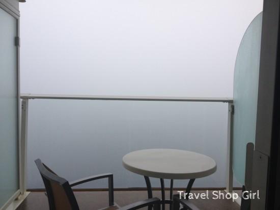 Balcony of cabin 12198 on an extraordinarily foggy day