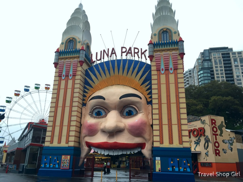 Luna Park Sydney and the easily recognizable 30' smiling face