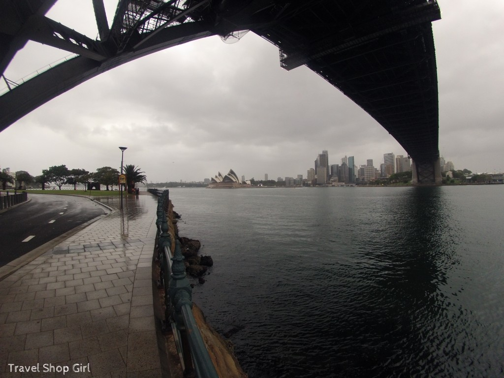 Sydney's skyline as viewed from under the bridge at Luna Park