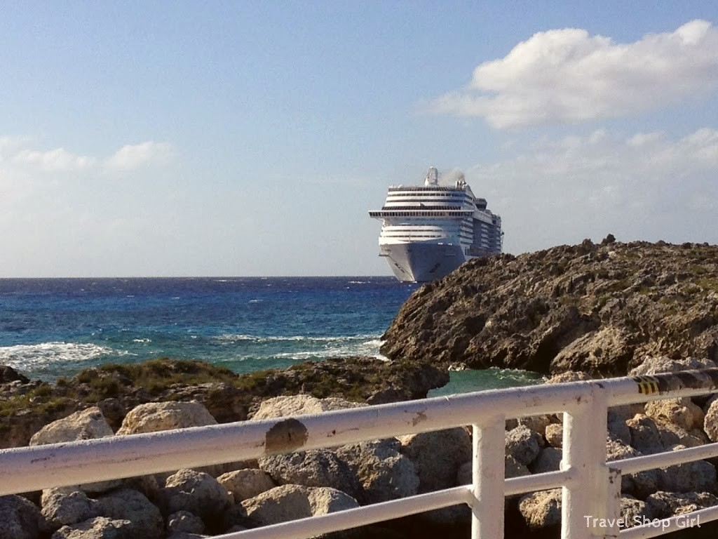 View of MSC Divina from the tender as we leave Little San Salvador (Half Moon Cay)