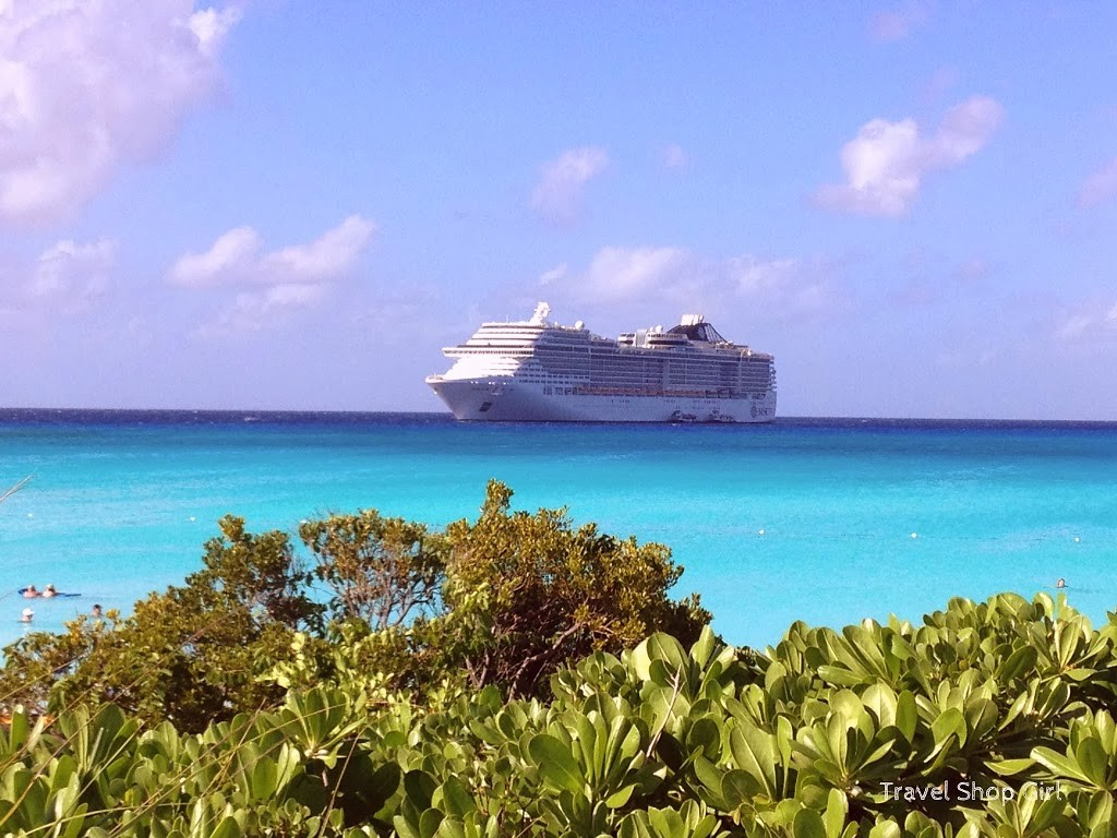 MSC Divina as seen from Little San Salvador Island (Half Moon Cay)