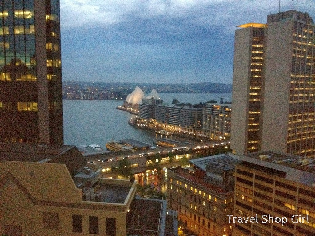 Evening view from room 2104 at the Sydney Harbour Marriott at Circular Quay