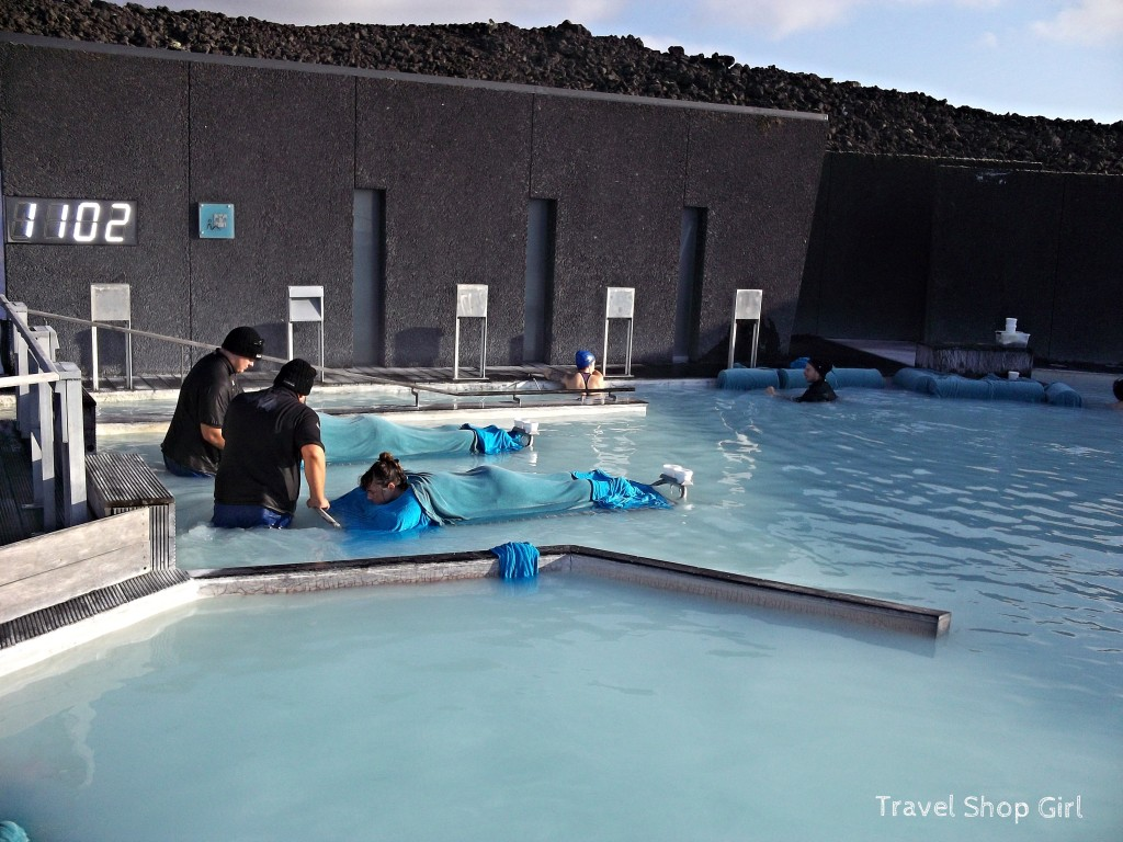 my first in water massage at the blue lagoon iceland
