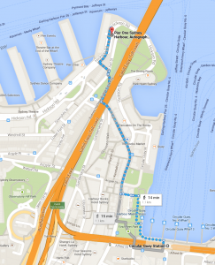 Map of the walk from Circular Quay station to Pier One Sydney Harbour