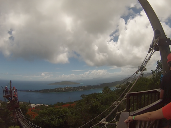 Enjoying the view from up high on the zipline at Tree Limin' Extreme