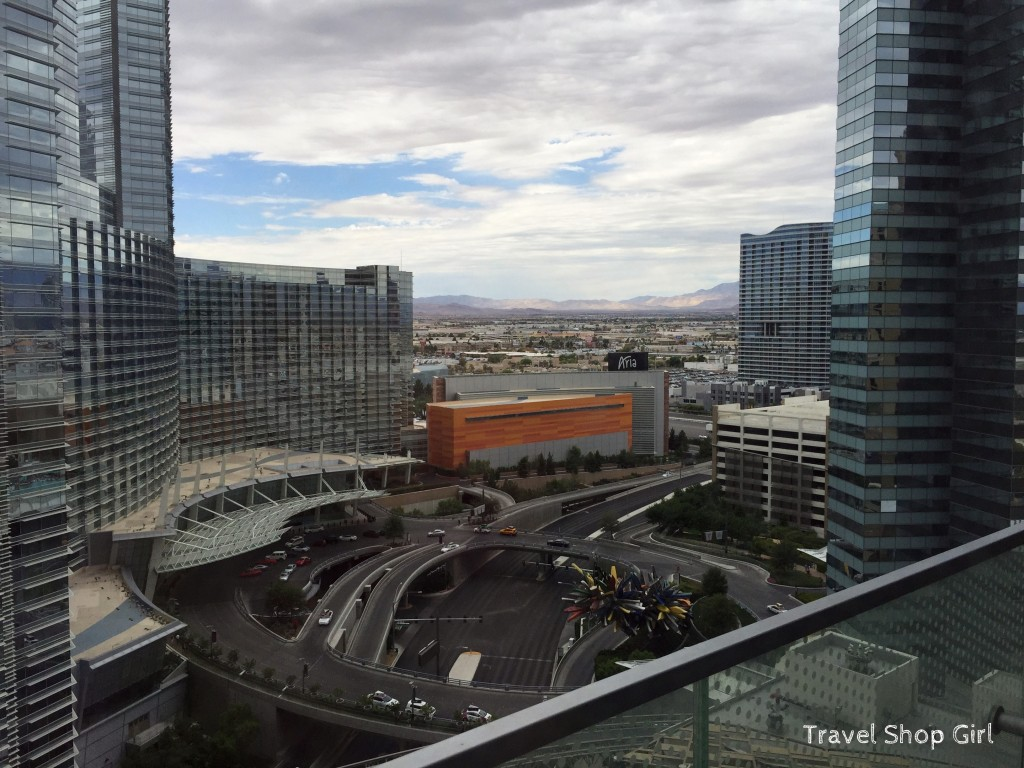View from the 24th floor in the West Tower at The Cosmopolitan toward Aria