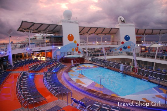 Sports pool on deck 15 at sunset