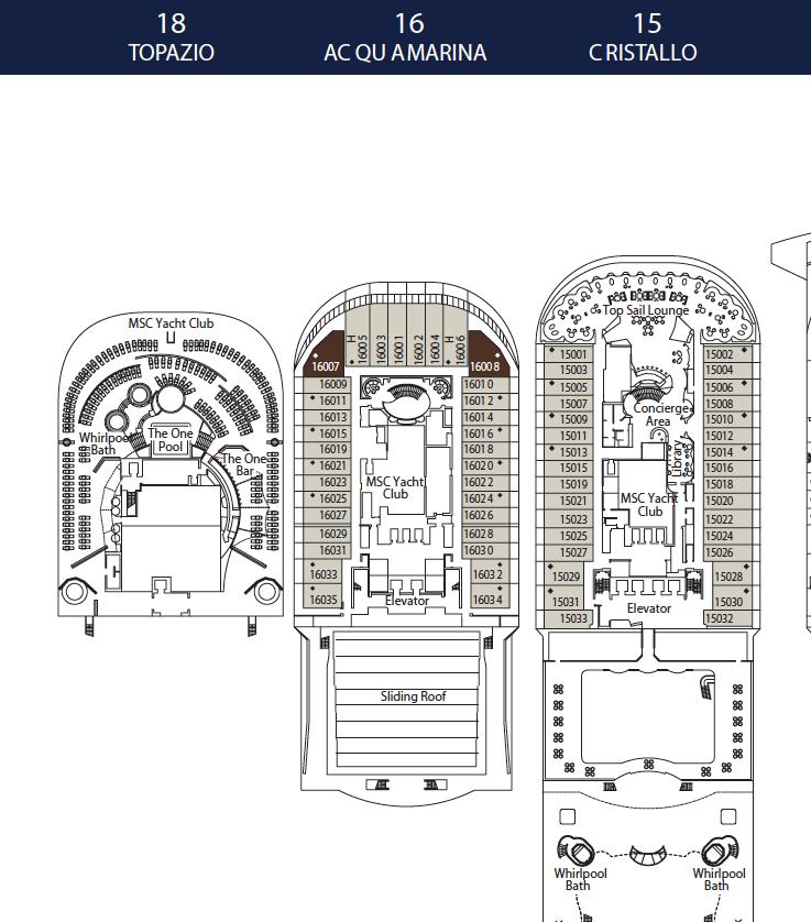 Deck Plan Msc Divina: MSC Yacht Club Suite 16029