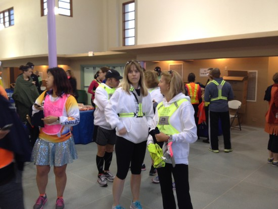 Melissa and Peg from Van 1 for their safety gear check before running