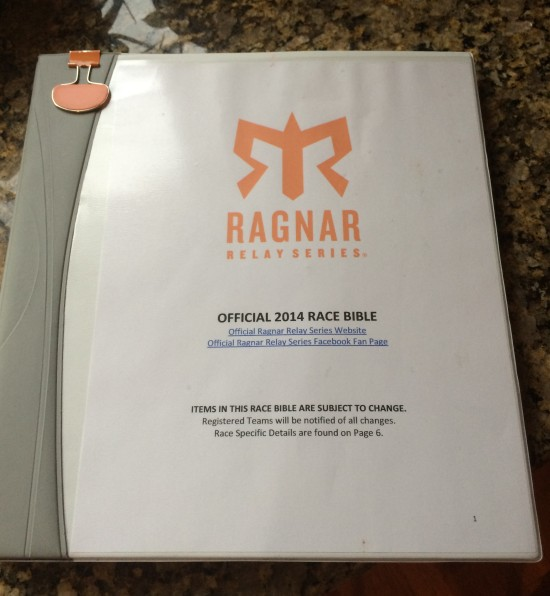 The Ragnar Bible (Photo courtesy of Jessica Kempter - Team Crazy Running Peeps)