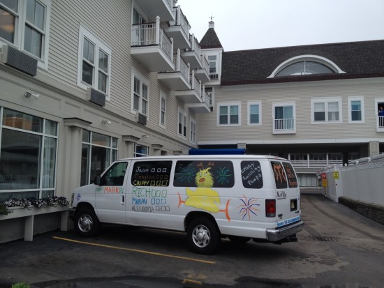 Crazy Running Peeps van 2 parked at Nantasket Beach Resort in Hull, MA before the race